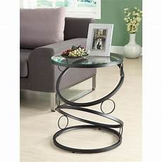 ring accent table tempered glass top metal modern
