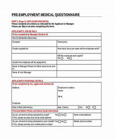 Employment Questionnaire Free 11 Sample Medical Questionnaire Forms In Pdf Ms