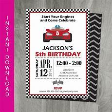 Free Printable Race Car Birthday Invitations Race Car Party 5x7 Invitation Self Editable Templett