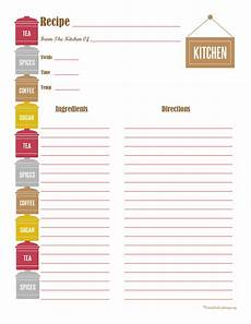 Homemade Recipe Cards Canister Recipe Card Full Page Printable Recipe Cards