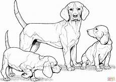 Ausmalbilder Hunde Beagle Beagle With Puppies Coloring Coloring Page