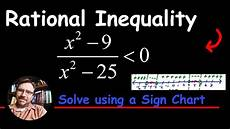 How To Do A Sign Chart Solve A Rational Inequality Using A Sign Chart Youtube