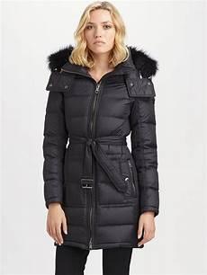 puffer coats burberry brit fox fur trimmed puffer coat in black lyst