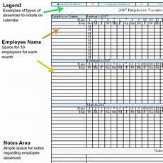 Tracking Calendar Template 2017 Employee Vacation Absence Tracking Calendar