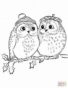 Ausmalbilder Eule Weihnachten Of Owls Coloring Page Free Printable