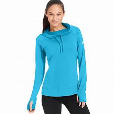 nike pro hyperwarm dri fit sleeve hoodie in blue lyst