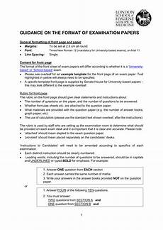 Essay Examination Guidance On The Format Of Examination Papers