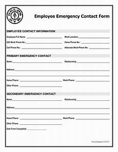 Employment Contact Form 30 Employee Emergency Contact Form Template In 2020
