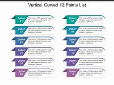 Points List Vertical Curved 12 Points List Powerpoint Presentation