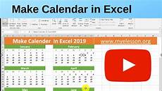 Make Schedule In Excel Make Calendar In Excel 2019 Youtube