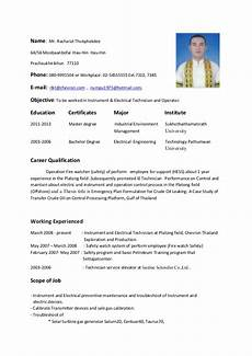 Resume Of Electrical Technician Resume Instrument Amp Electrical Technician And Operator