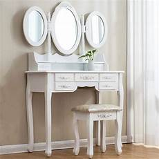 large white 7 drawer vanity makeup dressing table set with