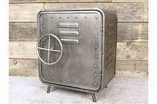 small industrial safe style metal cabinet silver