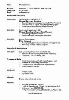 Resume Cv Examples Sample Resume Cv For Business English