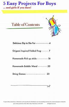 Example Of Table Of Content Cool Projects For Kids Ebook Art Lessons For Kids