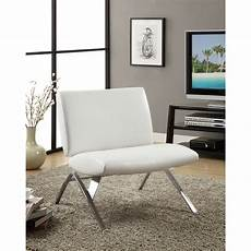 white leather look chrome metal modern accent chair