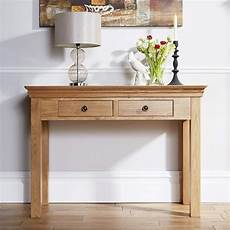 breton solid oak 2 drawer console table the furniture house