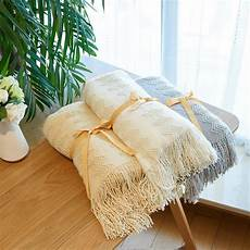 new blanket with tassel solid beige grey throw blanket for