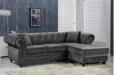 button tufted grey velvet nailhead sectional sofa w