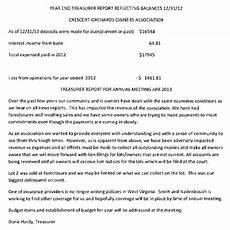Treasurer Report Crescent Orchard Owner S Association