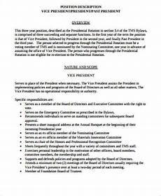 Vice President Of Manufacturing Job Description Free 8 President Job Description Samples In Ms Word Pdf