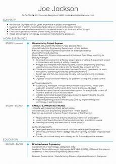 Project Cv Project Engineer Cv Sample Kickresume