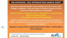 Introduction For Interview Self Introduction Sample For A Job Interview Youtube