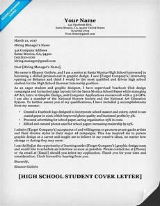 Resume Cover Letter Example For High School Students High School Student Cover Letter Sample Amp Guide