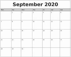 Blank 2020 Calendar By Month To Print September 2020 Monthly Calendar Printable