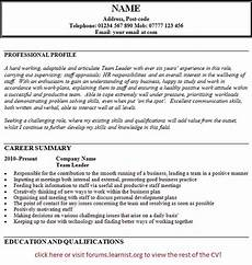 Cv For Team Leader Cv Templates Page 7 Of 16 Learnist Org