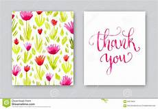 thank you card template watercolor thank you card template stock illustration