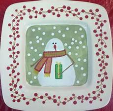 Christmas Pottery Designs Winter Snowman Platter Pottery Painting Pottery