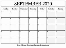 Calendar 2020 September Printable Printable September 2020 Calendar