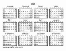 One Year Calendar 2020 Download 2020 Printable Calendars
