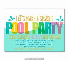 Pool Party Invites Free Printables Pool Party Birthday Invitation Printable Birthday Invite