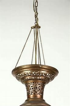 Brass Hanging Light Fixture Moroccan Moorish Brass Hanging Light Fixture For Sale At