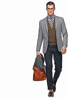 Light Grey Pants Brown Shoes Navy Blue Pants Grey Blazer Jacket Brown Cardigan