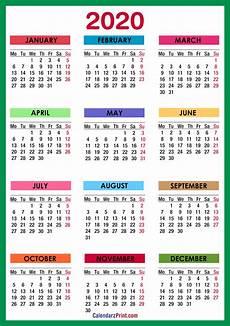 2020 Calendar Pdf 2020 Calendar Printable Free Colorful Blue Green