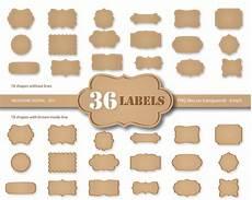 Label Paper 36 Kraft Paper Labels Digital Cardboard Clip Art Kraft