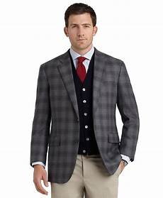 brothers fit plaid sport coat in grey gray