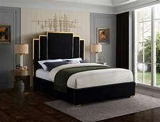 meridian furniture hugo black velvet polished gold metal