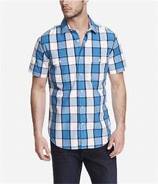 sleeve plaid shirt express fitted sleeve plaid shirt in blue for lyst