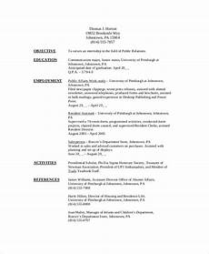 Sample Resume Format For Internship Free 8 Sample College Student Resume Templates In Pdf