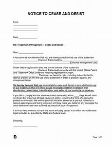 Sample Cease And Desist Letter Sample Cease And Desist Letter To Former Employee Free