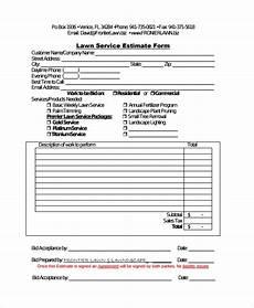 Lawn Care Estimate Forms Free 7 Sample Service Estimate Templates In Ms Word Pdf