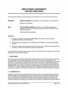 Employee Agreement Form Employment Agreement Key Employee Template Word Amp Pdf