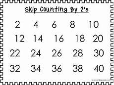 Counting By 2 S Chart 9 Printable Black Border Skip Counting 2 S Through 10 S