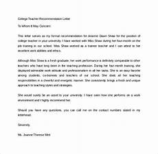 College Letter Of Recommendation From Teacher Free 20 College Recommendation Letter Templates In Pdf
