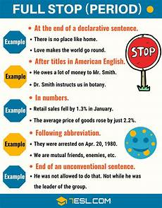 Period Punctuation Full Stop When To Use A Full Stop Period Punctuation