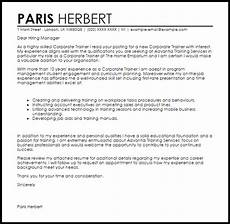 Cover Letter For Maintenance Manager Corporate Trainer Cover Letter Sample Cover Letter